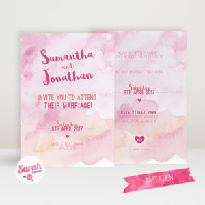 Watercolour Wash Pink - Invite - Sarah Rosemary