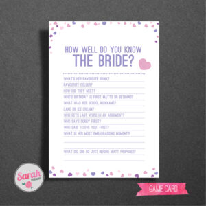 Hearts Hen Do Games Card - Sarah Rosemary