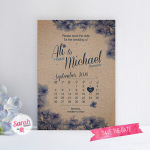 Hydrangea Kraft - Save the Date - Sarah Rosemary