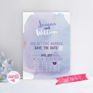 Watercolour Wash Blue - Save the Date - Sarah Rosemary