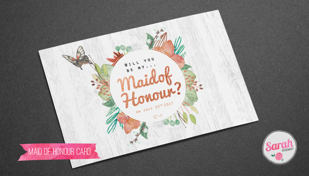 Maid of Honour - Card - Sarah Rosemary