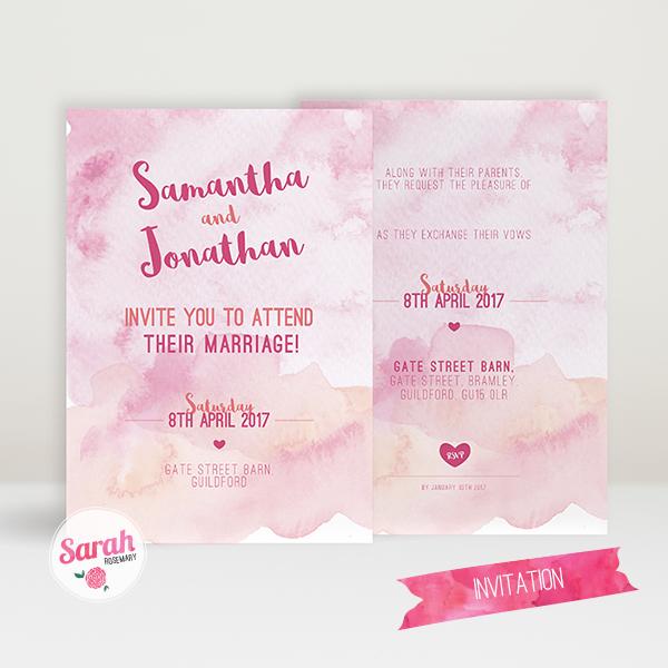 Watercolour Wash Pink - Invite - Sarah Rosemary